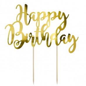 Cake Topper - Happy Birthday Oro